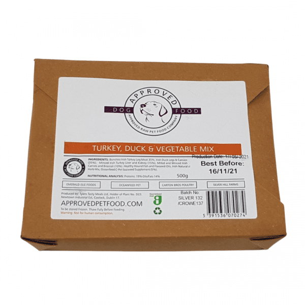 Approved Raw Dog Food Company Turkey Duck and Vegetable